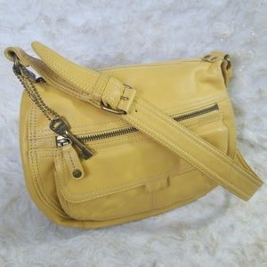 Fossil Purse Yellow Leather Shoulder Bag